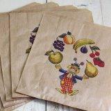 ★STEP1★フランスのマルシェ袋 ピエロと果物 5枚入