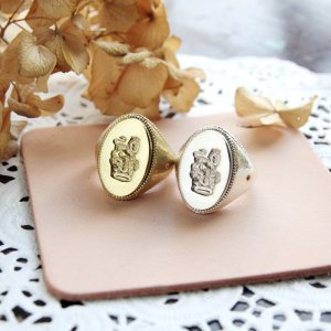 画像1: SEALING WAX SIGNET RING  CROWN&LION 〜王冠とライオン〜