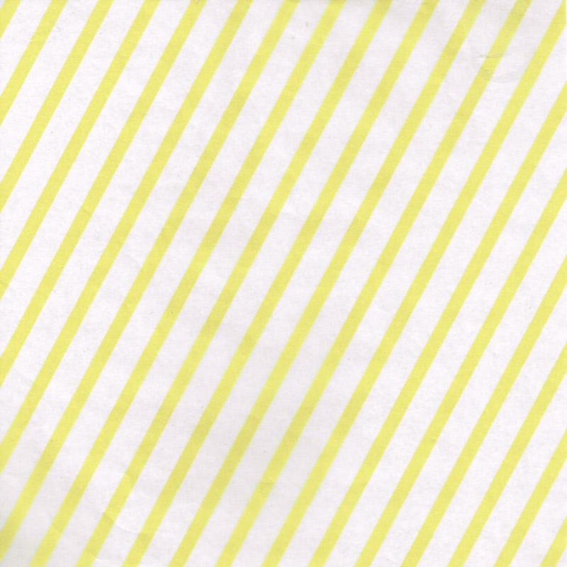 ストライプ ロウ引き紙 白×黄
