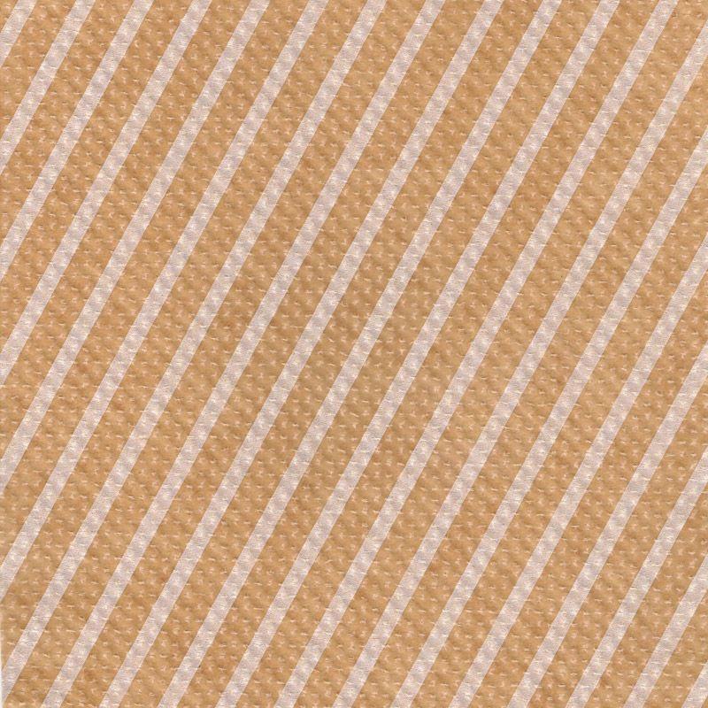ストライプエンボス ロウ引き紙 茶×白