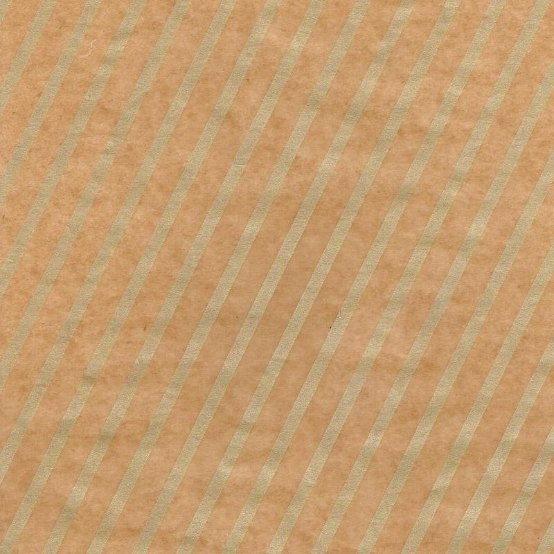 ななめストライプ ロウ引き紙 茶×金