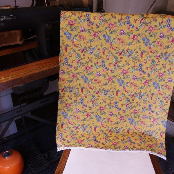 THE LETTERS ヨーロッパのリネン オランダ Chintz fabric【Plant】MUSTARD ブライダル雑貨 活版雑貨 封蝋雑貨