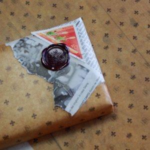 画像1: ★STEP1★ロウ引き包装紙 百合の紋章柄 オイルペーパー