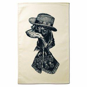 画像1: 会員限定30%OFF★【CHASE AND WONDER】Sophisticated Dog タオル --おしゃれな犬-