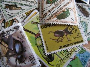 画像1: ★STEP1★世界の古切手シリーズ 昆虫  10枚セット