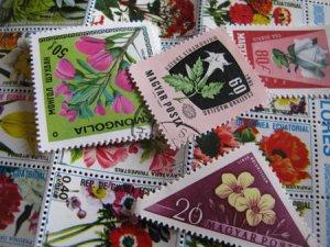 画像1: ★STEP1★世界の古切手シリーズ お花 10枚セット